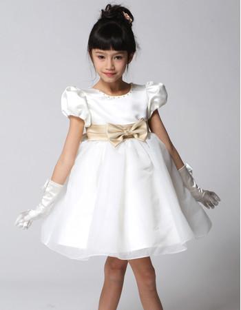 Adorable Princess Ball Gown Short Satin Little Girls Party Dress