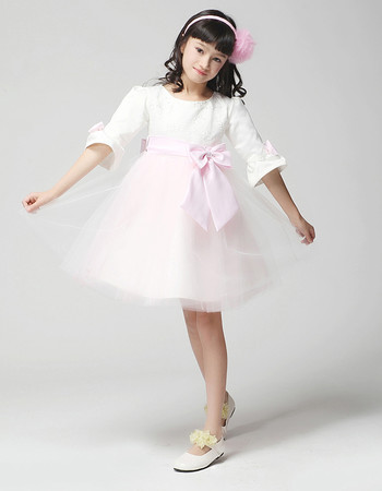 Kids Princess Half Sleeves Knee Length Little Girls Party Dress