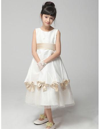Pretty A-Line Tea Length Satin Little Girls Pageant Party Dress