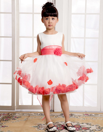 A-Line Knee Length Satin Little Girls Pageant Party Dress