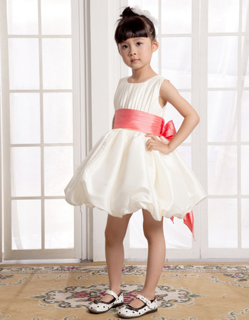 Lovely A-Line Short Satin Little Girls Pageant Party Dress