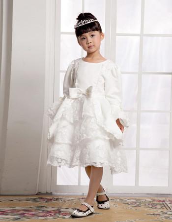 Knee Length Long Sleeves First Communion/ Flower Girl Dress for Weding