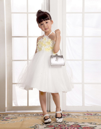 Empire Halter Knee Length Easter Dress/ Flower Girl Dress for Weding