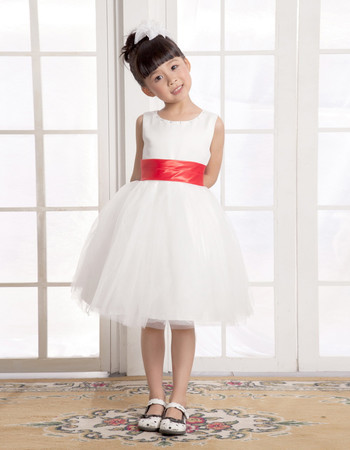 A-Line Round Knee Length Satin Flower Girl Dress for Weding