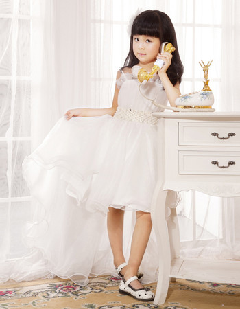 Little Girls Spaghetti Straps High Low Organza Flower Girl Dress for Weding