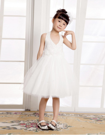 Cute A-Line Halter Knee Length Satin FFlower Girl Party Dress for Wedding