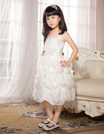 Spaghetti Straps Knee Length Organza Flower Girl Party Dress for Wedding