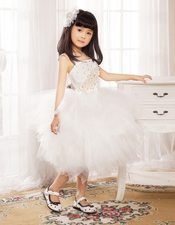Ball Gown Knee Length Tulle Flower Girl Party Dress for Wedding