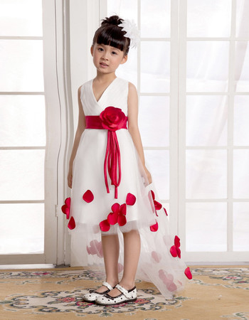 A-Line V-Neck High-Low Satin Tulle Flower Girl Party Dress for Wedding