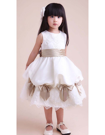 A-Line Round Knee Length Satin Flower Girl Party Dress for Wedding