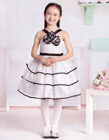 Little Girls Stunning Ball Gown V-Neck Knee Length Flower Girl Dress