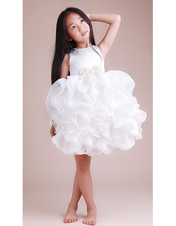 Beautiful Ball Gown Short Satin Ruffle Little Girls Party/ Pageant/ Party Dress