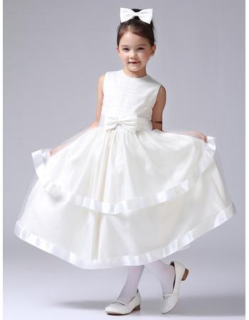 Little Girls Pretty Tea Length Satin First Communion/ Flower Girl Dress