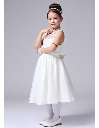 Cute A-Line Tea Length Satin First Communion/ Flower Girl Dress