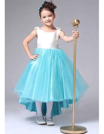 Little Girls Kids Pretty A-Line Round/ Scoop High-Low Satin Flower Girl Dress