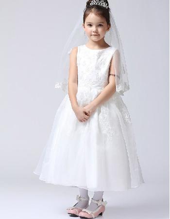 Lovely Ball Gown Tea Length First Communion/ Flower Girl Dress