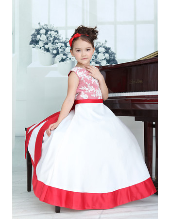 Little Girls Affordable A-Line Floor Length Satin Flower Girl Dress