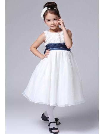 Little Girls Cute A-Line Round Knee Length Satin Flower Girl Dress