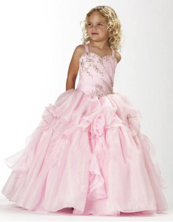 Beautiful Ball Gown Straps Floor Length Satin Flower Girl Dress