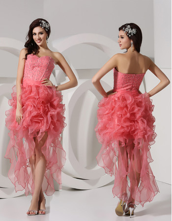 Beautiful Sheath Sweetheart Short/ Mini Organza Prom Dress for Women and Girl