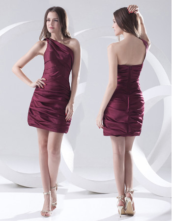 Sexy Column One Shoulder Short Satin Homecoming Party Dress for Girls