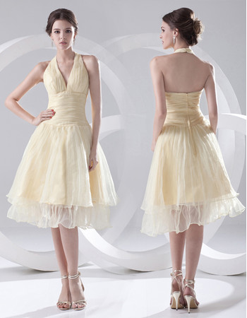 Discount A-Line Halter Knee Length Satin Homecoming/ Party Dress