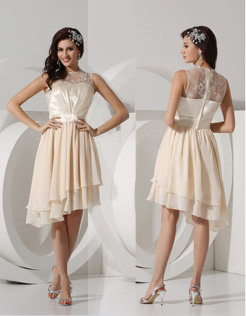 Pretty A-Line Knee Length High Low Chiffon Homecoming Party Dress
