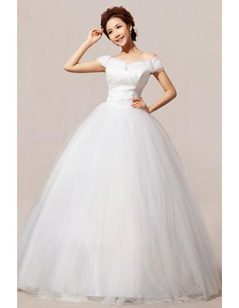 Affordable Modern Off-the-shoulder Ball Gown Floor Length Wedding Dress