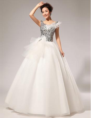 Modern V-Neck Sequined Ball Gown Floor Length Satin Wedding Dress