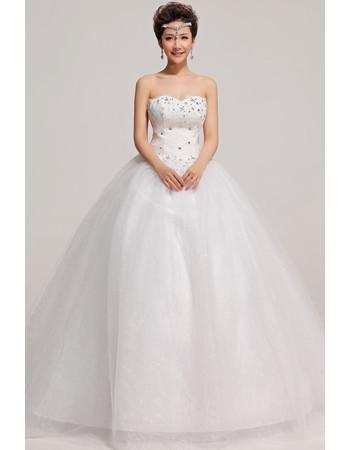 Classic Modern Strapless Ball Gown Floor Length Taffeta Dress for Winter Wedding