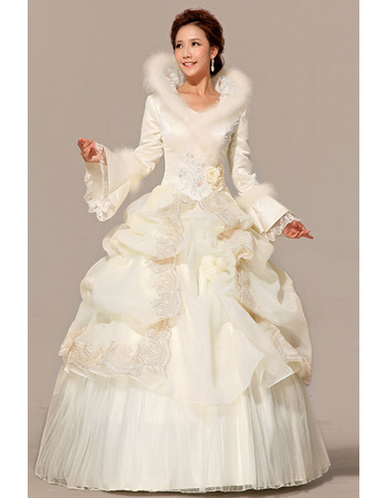 Gorgeous Long Sleeves Satin Ball Gown Long Wedding Dress for Winter