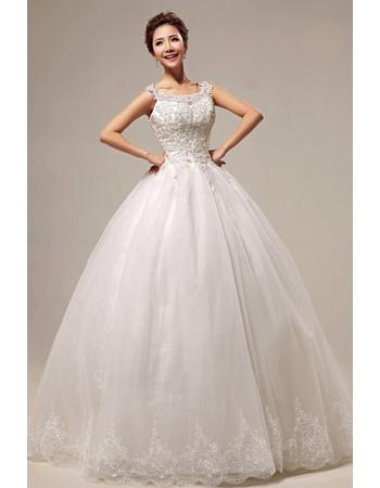 Custom Modern Applique Ball Gown Scoop Floor Length Tulle Wedding Dress