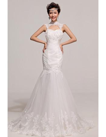 Chic Elegant Mermaid High-Neck Sweep Train Satin Organza Wedding Dress