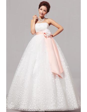 Modern Empire Strapless Floor Length Organza Dress for Spring Wedding