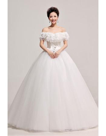 Chic Modern Off-the-shoulder Ball Gown Floor Length Satin Wedding Dress