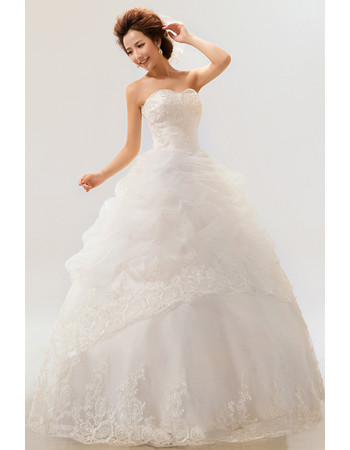 Gorgeous Organza Ball Gown Sweetheart Floor Length Wedding Dress