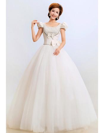 Modern Cap Sleeves Ball Gown Floor Length Satin Wedding Dress for Winter