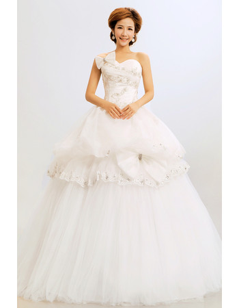 Affordable Gorgeous Ball Gown Sweetheart Long Organza Wedding Dress