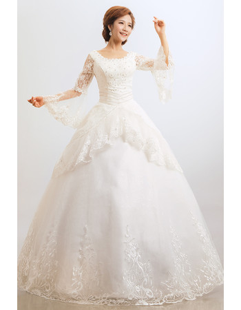 Gorgeous Lace Long Sleeves Ball Gown Floor Length Wedding Dress