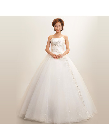 Modern Ball Gown Strapless Floor Length Organza Dress for Winter Wedding