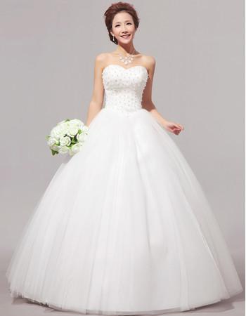 Custom Modern Beaded Ball Gown Sweetheart Floor Length Organza Wedding Dress