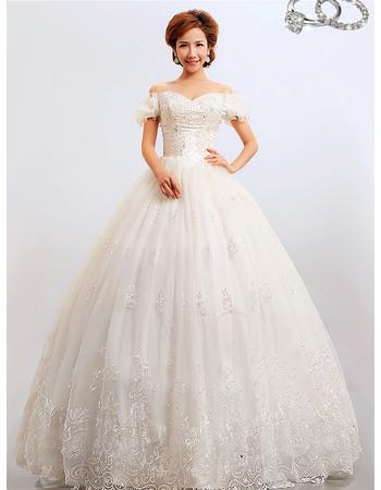 Discount Modern Off-the-shoulder Ball Gown Floor Length Organza Wedding Dress