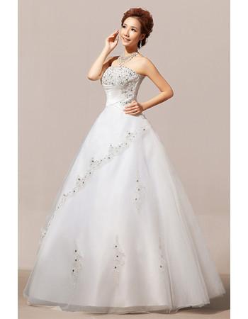 Elegant Modern Beaded Ball Gown Strapless Floor Length Organza Wedding Dress
