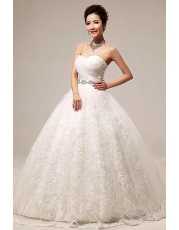 Modern Floral Ball Gown Sweetheart Floor Length Organza Wedding Dress
