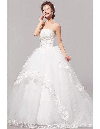 Gorgeous Sweep Train Organza Ball Gown Strapless Dress for Spring Wedding