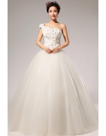 Custom Modern One Shoulder Applique Ball Gown Floor Length Wedding Dress