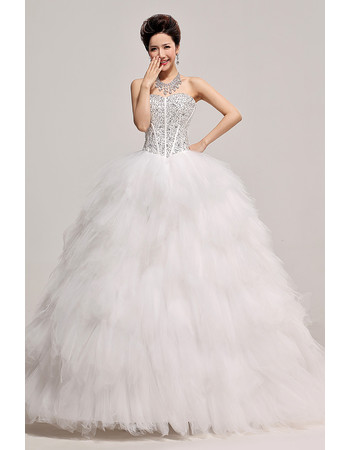 Inexpensive Gorgeous Beaded Ruffle Ball Gown Sweetheart Organza Wedding Dress