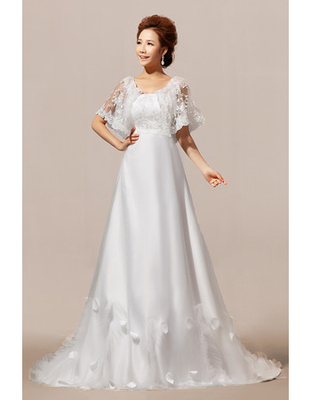 Chic Modern Lace Sleeves A-Line Sweep Train Satin Wedding Dress for Spring
