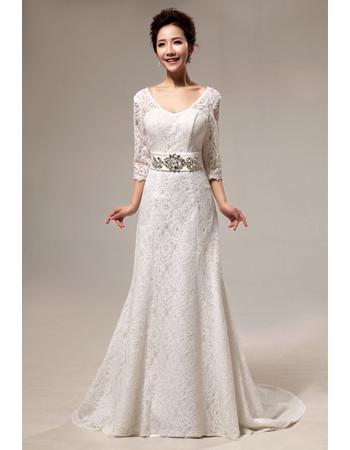 Custom Modern Lace Sweep Train A-Line Wedding Dress with Sleeves