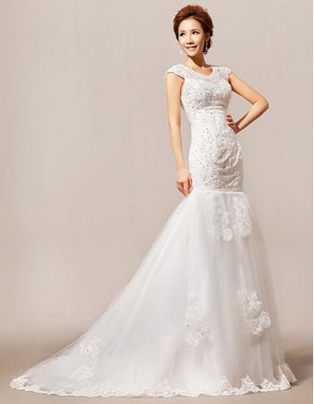 Modern Elegant Mermaid/ Trumpet Beaded Sweep Train Satin Wedding Dress